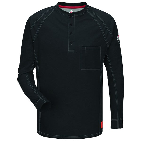 Black iQ Series® Long Sleeve Henley,henley, henley long sleeve, flame resistant shirt, fr work clothes, fr shirt, flame resistant long sleeve shirt, flame resistant clothes, fr long sleeve, fr henley
