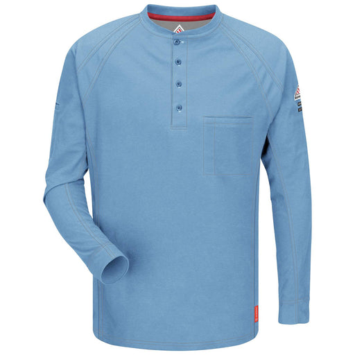 Blue iQ Series® Long Sleeve Henleys,henley, henley long sleeve, flame resistant shirt, fr work clothes, fr shirt, flame resistant long sleeve shirt, flame resistant clothes, fr long sleeve, fr henley
