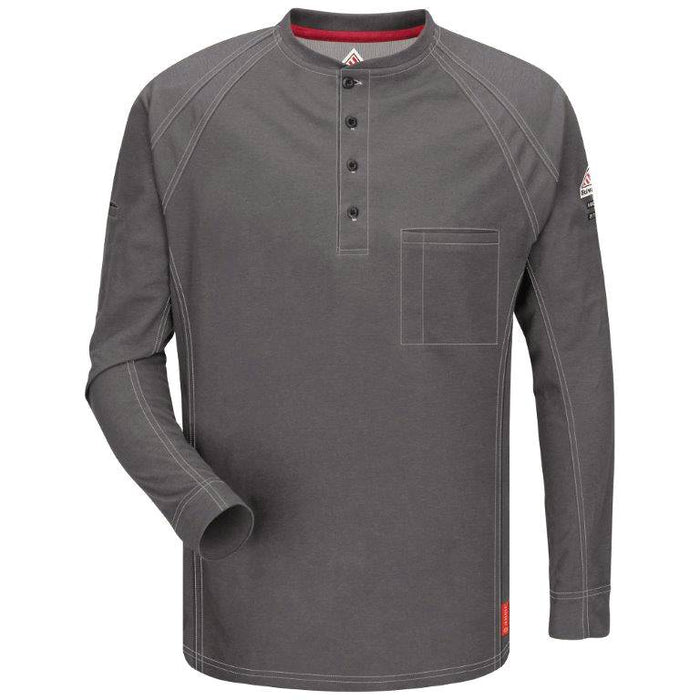Charcoal iQ Series® Long Sleeve Henley,henley, henley long sleeve, flame resistant shirt, fr work clothes, fr shirt, flame resistant long sleeve shirt, flame resistant clothes, fr long sleeve, fr henley