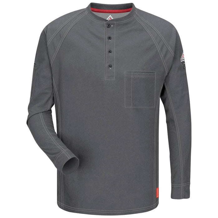 Charcoal iQ Series® Long Sleeve Henleys, henley, henley long sleeve, flame resistant shirt, fr work clothes, fr shirt, flame resistant long sleeve shirt, flame resistant clothes, fr long sleeve, fr henley