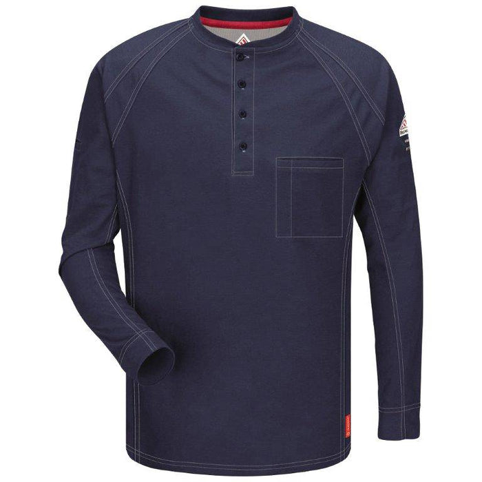 Dark Blue iQ Series® Long Sleeve Henleys, henley, henley long sleeve, flame resistant shirt, fr work clothes, fr shirt, flame resistant long sleeve shirt, flame resistant clothes, fr long sleeve, fr henley