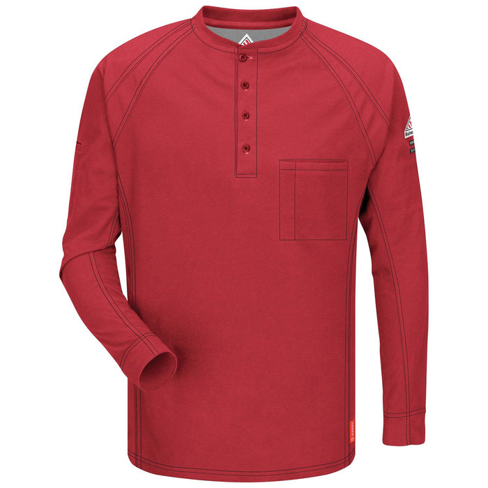 Red iQ Series® Long Sleeve Henleys, henley, henley long sleeve, flame resistant shirt, fr work clothes, fr shirt, flame resistant long sleeve shirt, flame resistant clothes, fr long sleeve, fr henley