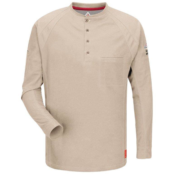 Khaki iQ Series® Long Sleeve Henley,henley, henley long sleeve, flame resistant shirt, fr work clothes, fr shirt, flame resistant long sleeve shirt, flame resistant clothes, fr long sleeve, fr henley
