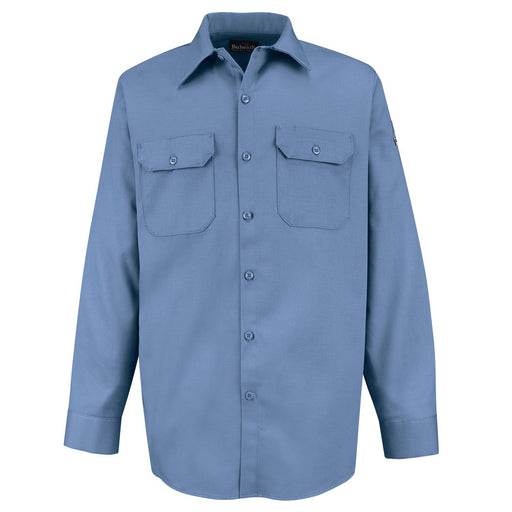 Light Blue Flame-Resistant Button-Front Work Shirt, FLAME RESISTANT SHIRT, FR WORK CLOTHES, DR SHIRT, FLAME RESISTANT LONG SLEEVED SHIRT, FLAME RESISTANT CLOTHES, FR LONG SLEEVE