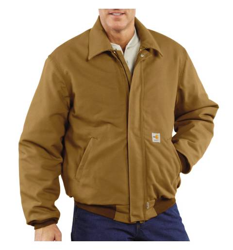 Men's Flame-Resistant Duck Bomber Jacket, Quilt-Lined