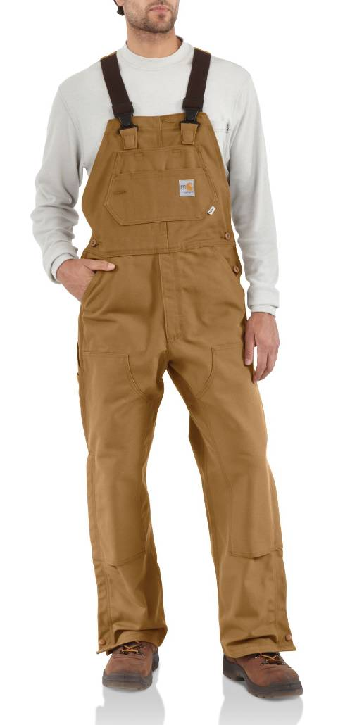 Flame-Resistant Duck Bib Overalls, Unlined - Brown