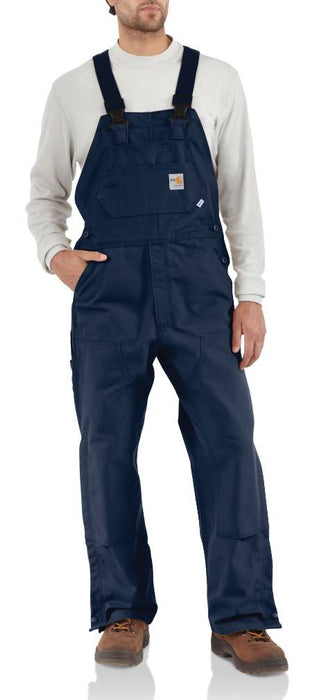 Flame-Resistant Duck Bib Overalls, Unlined - Black