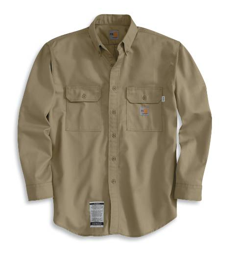 Regular Men's Flame-Resistant Twill Shirts with Pocket Flap