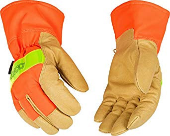 Lined Hi-Viz Orange Grain Pigskin Palm Gloves