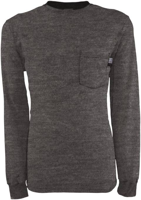 Gray TECGEN SELECT® FR Long Sleeve T-Shirts, FLAME RESISTANT SHIRT, FR WORK CLOTHES, FR SHIRT, FLAME RESISTANT LONG SLEEVED SHIRT, FLAME RESISTANT CLOTHES, FR LONG SLEEVE
