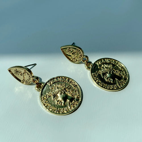 Yasmeen Gold Coin Earrings - Twice Shy