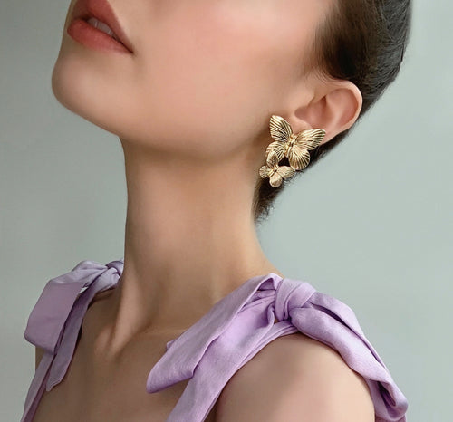 Mila Butterfly Drop Earrings - Twice Shy