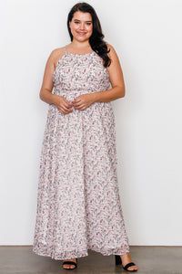 Plus Size Off White Floral Print Side Lace Up Maxi Dress