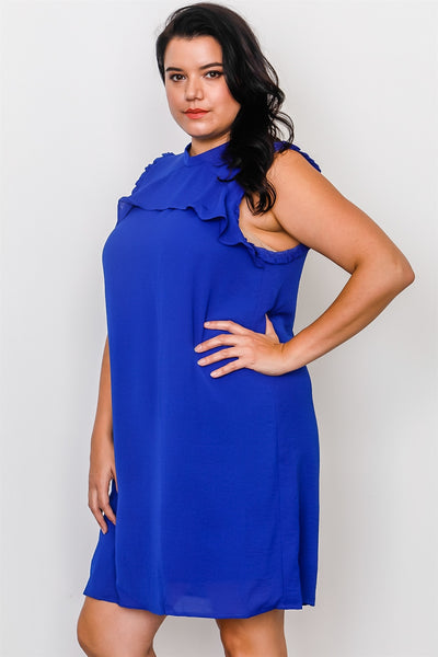 Plus Size Ruffle Tie Back Dress