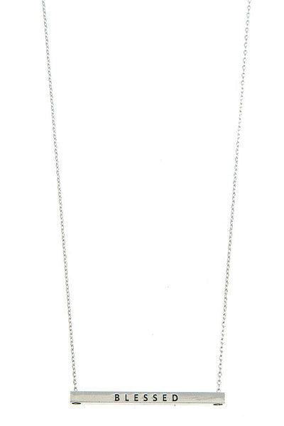 Blessed Bar Pendant Necklace