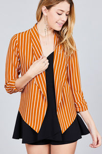 Shirring Sleeve Open Front W/label Striped Jacket