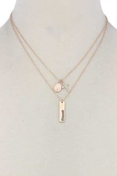 """blessed"" Engraved Metal Bar Cross Charm Multi Layered Necklace"