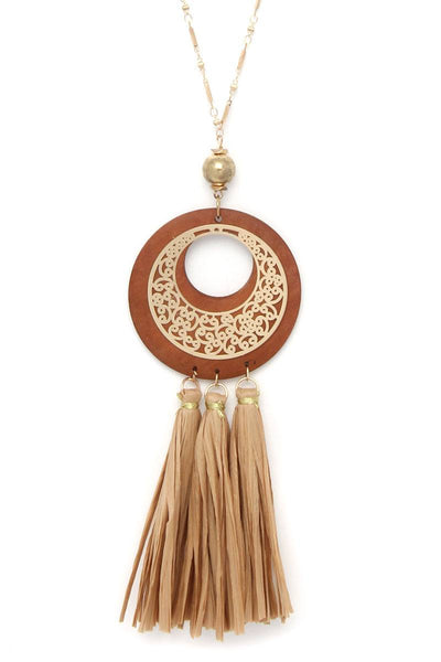 Cutout Circle Raffia Tassel Pendant Necklace