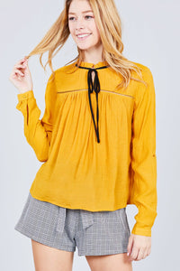 3/4 Roll Up Sleeve Ruffle Neck Contrast Tie Slub Gauze Woven Top
