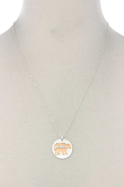 Mama Bear Circle Pendant Necklace