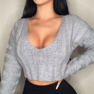 Khloe Crop Sweater (Grey)