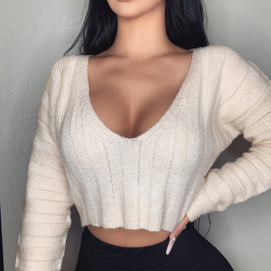 Khloe Crop Sweater (Cream)