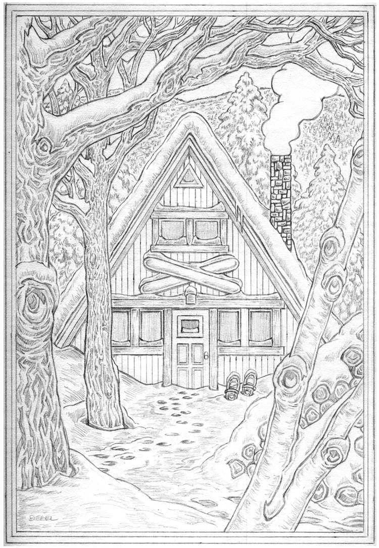 Winter A-FRAME Comprehensive Pencil Sketch
