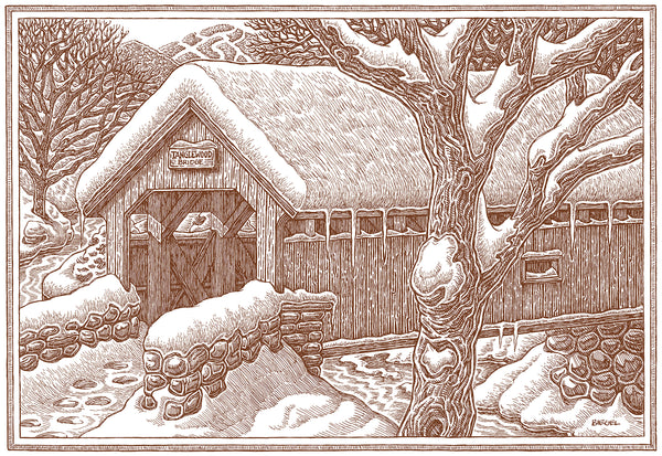 covered bridge at tanglewood by artist mike biegel