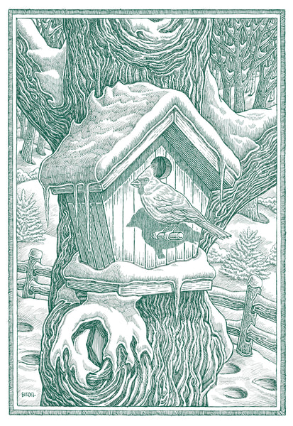 winter birdhouse greeting card with cardinal