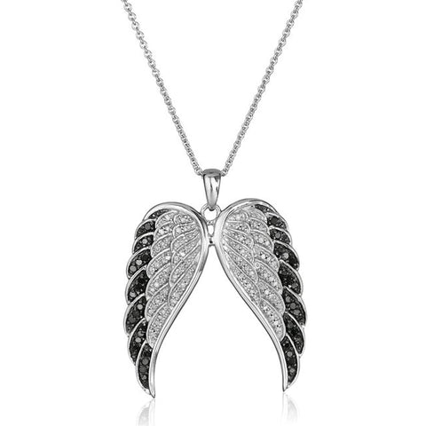 Crystal Silver Angel Wings Necklace - Cute Angel Market