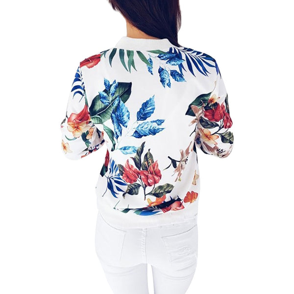 Women's floral bomber zipper jacket - Cute Angel Market