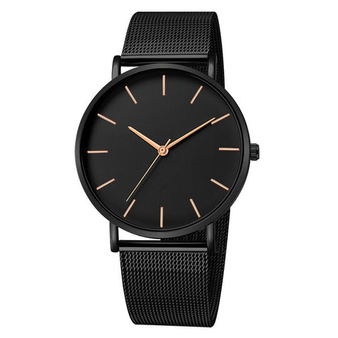 Black Quartz Watch Stainless Steel Mesh - Cute Angel Market