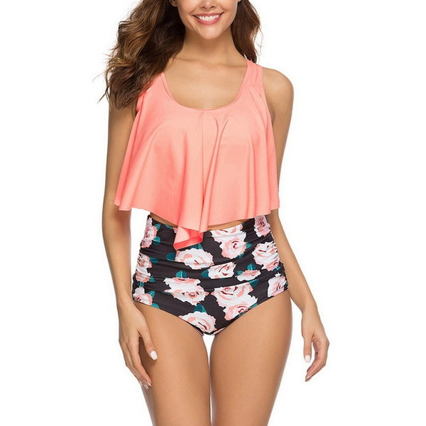 Swimsuits for women high waisted, ruffles bikini set - Cute Angel Market