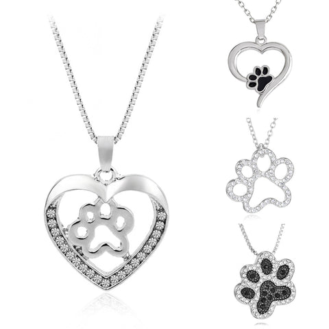 Paw Necklace, Silver cute paw print cat – dog pendant necklace - Cute Angel Market
