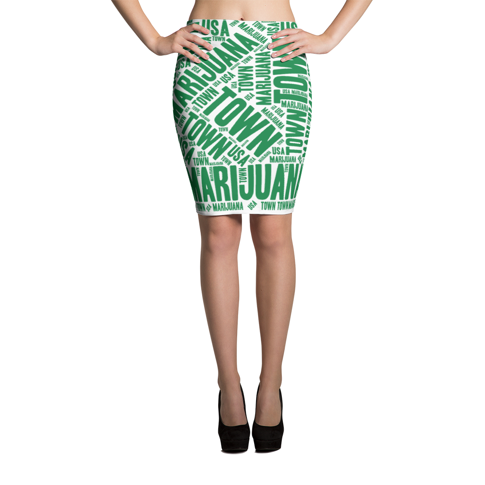 Pencil Skirt - Green & White