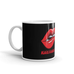 Coffee Mug, Black with Red Lips