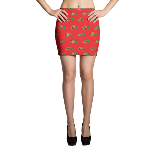 Red Leopard Lips MT Mini Skirt