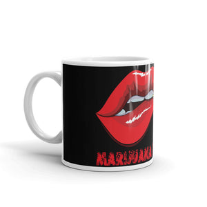 Coffee Mug, Black with Red Lips, MEGA