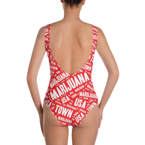 RED w/ WHITE One-Piece Swimsuit