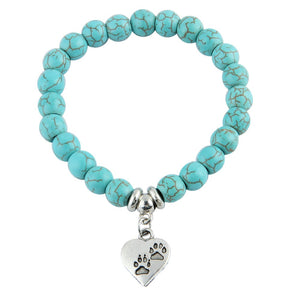 Cat  Footprint Blue Bead Pendant Bracelet