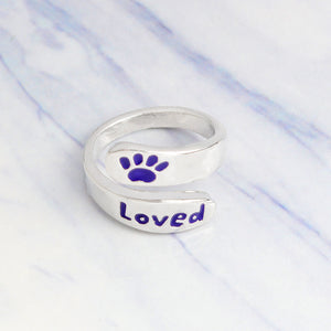 "Purple Paw ""Loved"" Ring"