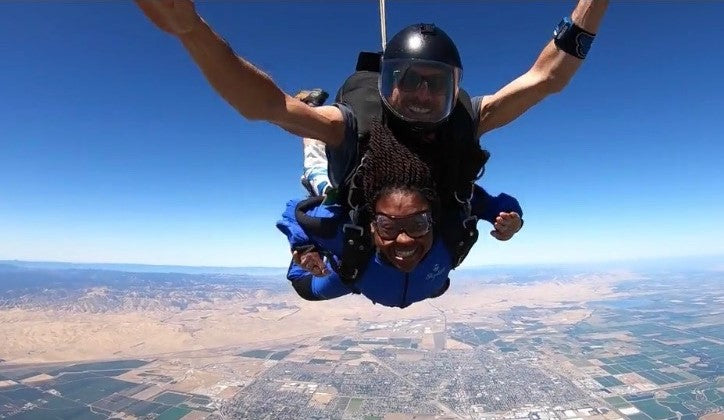 My youngest sister skydiving.