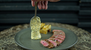 Steak, Truffle Béarnaise Sauce, Truffle Potato Terrine