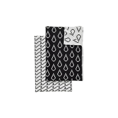 Waves and Drops Bitmap Tea Towel Set