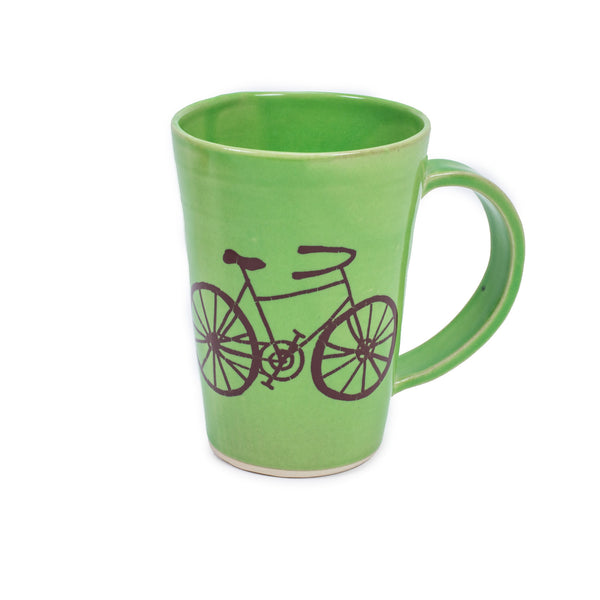 Hand Glazed Bicycle Mug Green from Bella Joy Pottery - 4