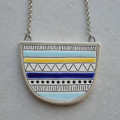 Geometric Half Circle Necklace by Isla Clay
