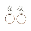Silver & Copper Organic Shapes Drop Earrings