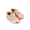 Rose Gold Pebbled Leather Baby Moccasins