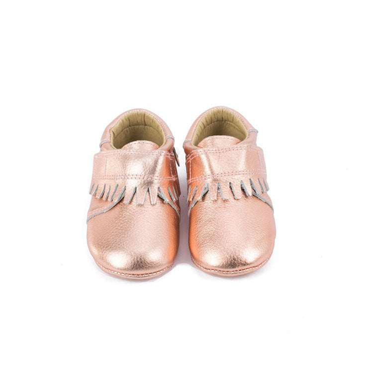 d5a867635da05 Rose Gold Pebbled Leather Baby Moccasins