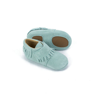 Teal Suede Baby Moccasins
